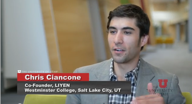 Chris Ciancone. Co-Founder of LIYEN on the Westminster College campus.