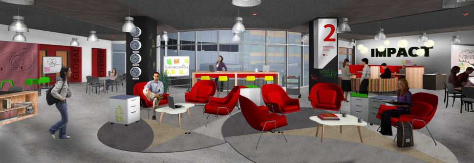 Sustainability & Global Impact floor (architectural rendering)