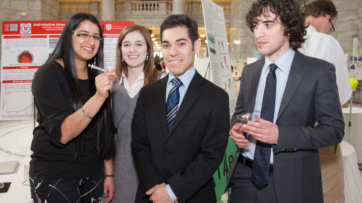 U students at the Bench-to-Bedside competition at the Utah State Capitol.