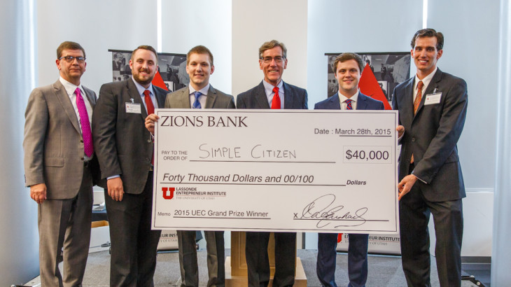 U student startup, Simple Citizen, wins the 2015 Utah Entrepreneur Challenge.