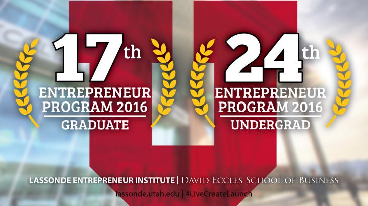 University of Utah's Lassonde Entrepreneur Institute national statistics.