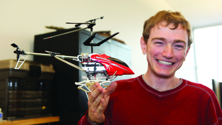 Mechanical engineering student creates a helicopter for functional use that can recharge via solar power.