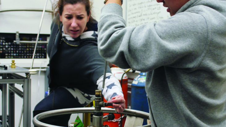 U student Anne Schaeffer creates pressure chamber that tested two different samples of a superconductor simultaneously.