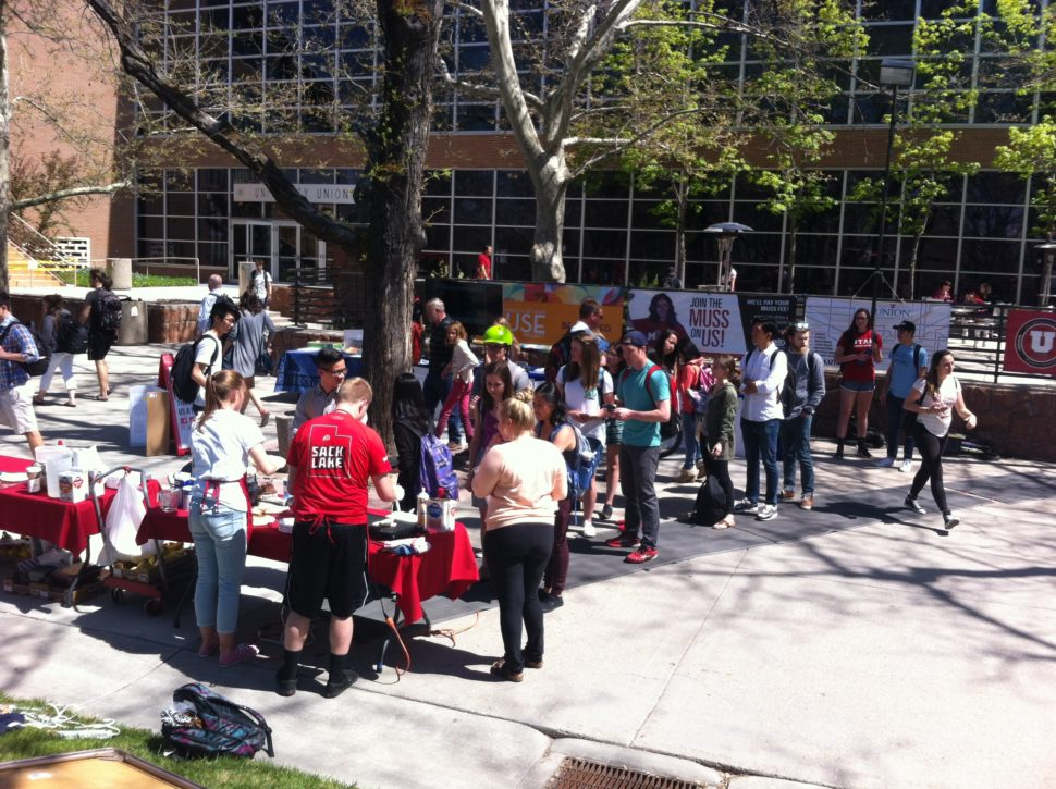 Eaters line up at the Student Union for a taste of Jordan Nilsson's crepes.