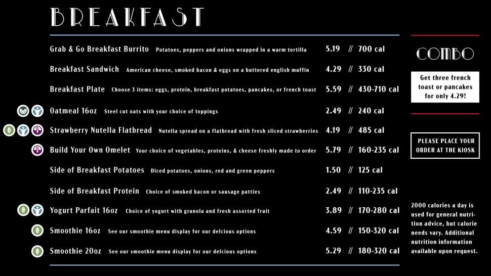 Miller Cafe breakfast menu
